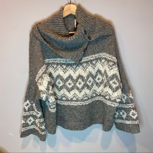 Free People Oversized Cowl Neck button Sweater
